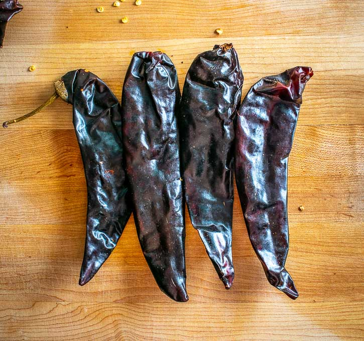 Four New Mexican dried chiles