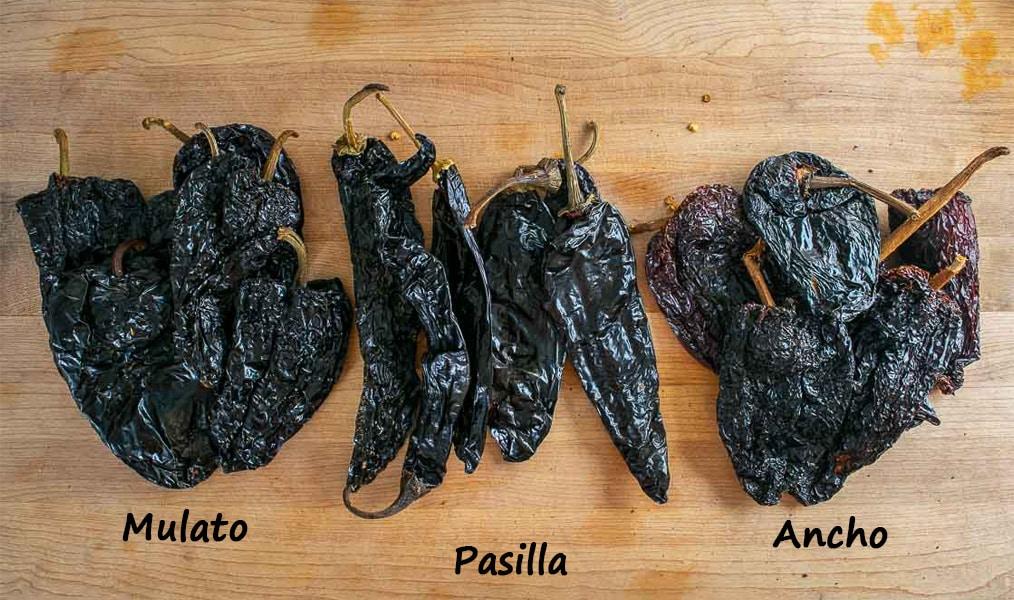 Holy Trinity of dried chiles for Mole Poblano