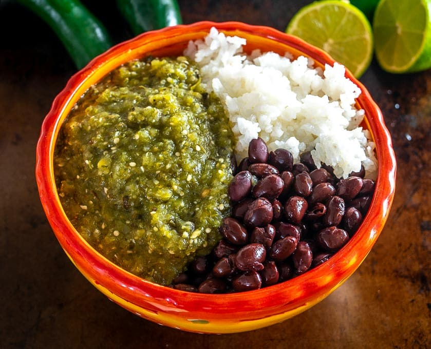 Keep some Chile Verde sauce in the fridge and you can whip up these Rice and Bean bowls in a matter of minutes. So good!!
