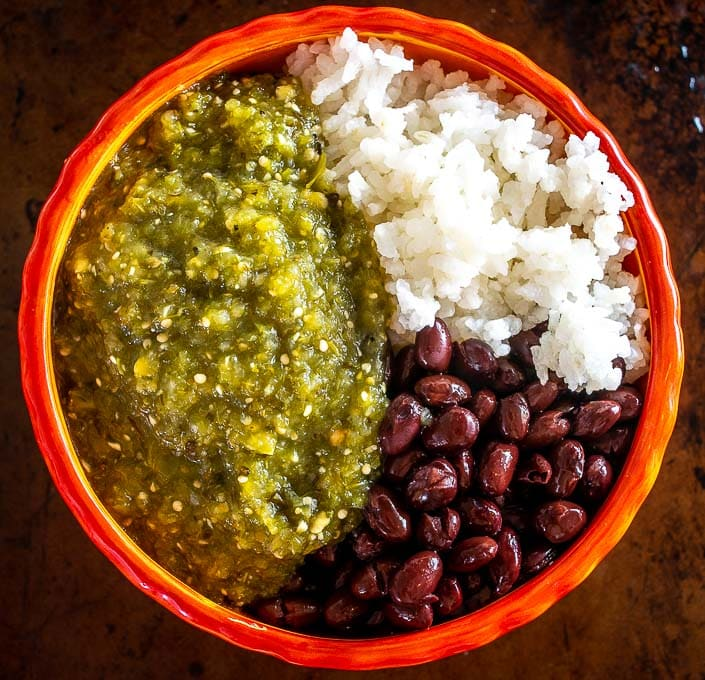 Chile Verde bowl with rice and beans