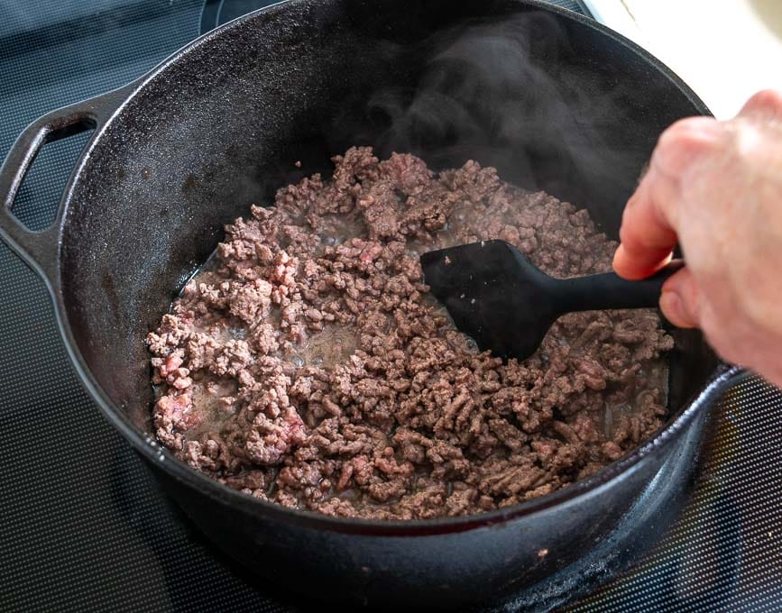 Browning the ground beef