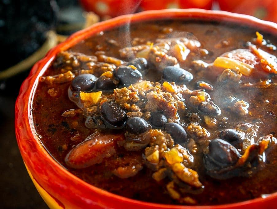 Chili con Carne in a serving bowl
