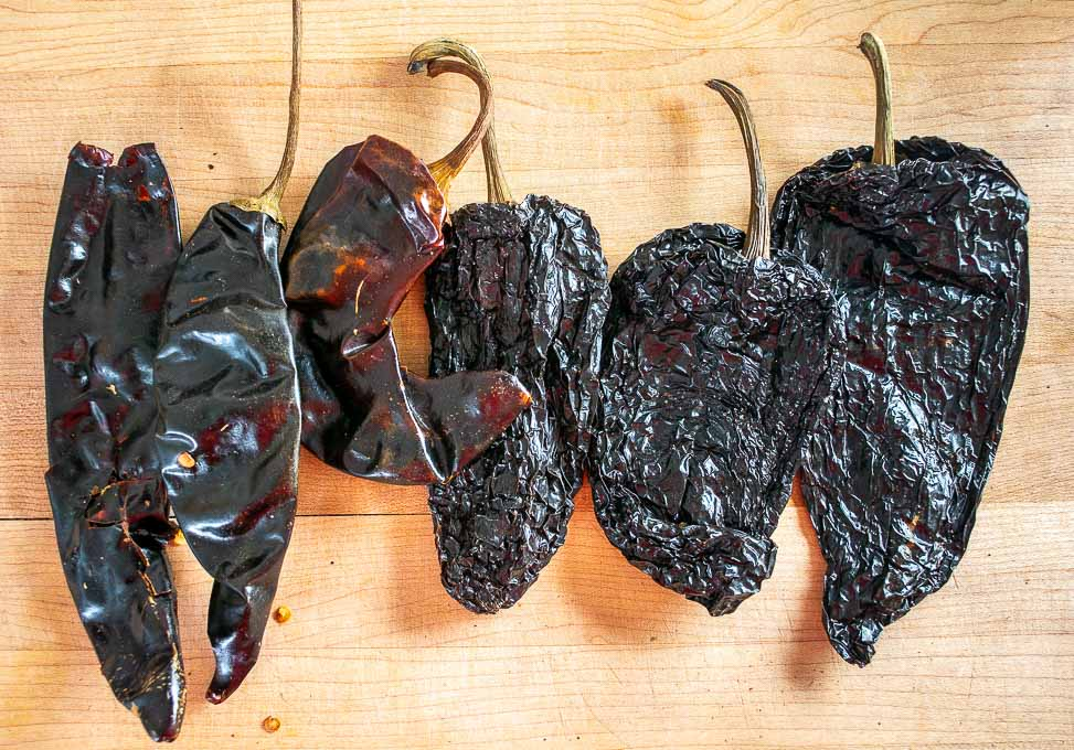 3 Ancho and 3 New Mexican chiles for Chili con Carne