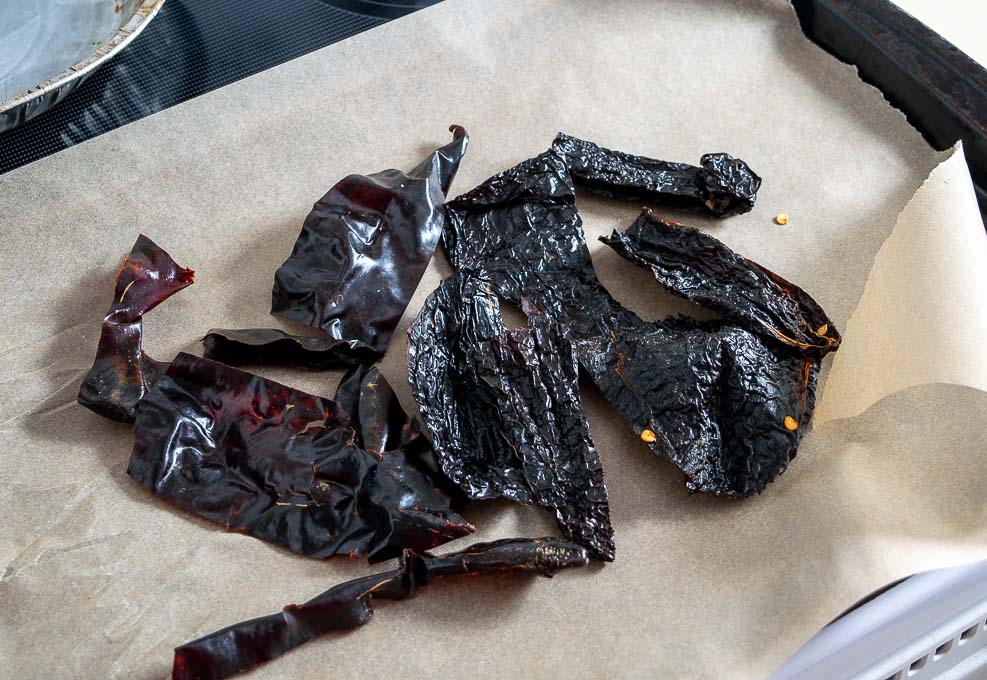 Ancho and New Mexican chiles after being de-stemmed and de-seeded