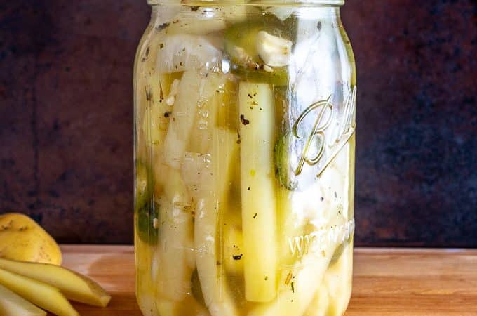 What a treat to have a jar of these PIckled Potatoes in the fridge! I used 3 jalapenos to give them some kick but you can always use less for a milder batch. mexicanplease.com