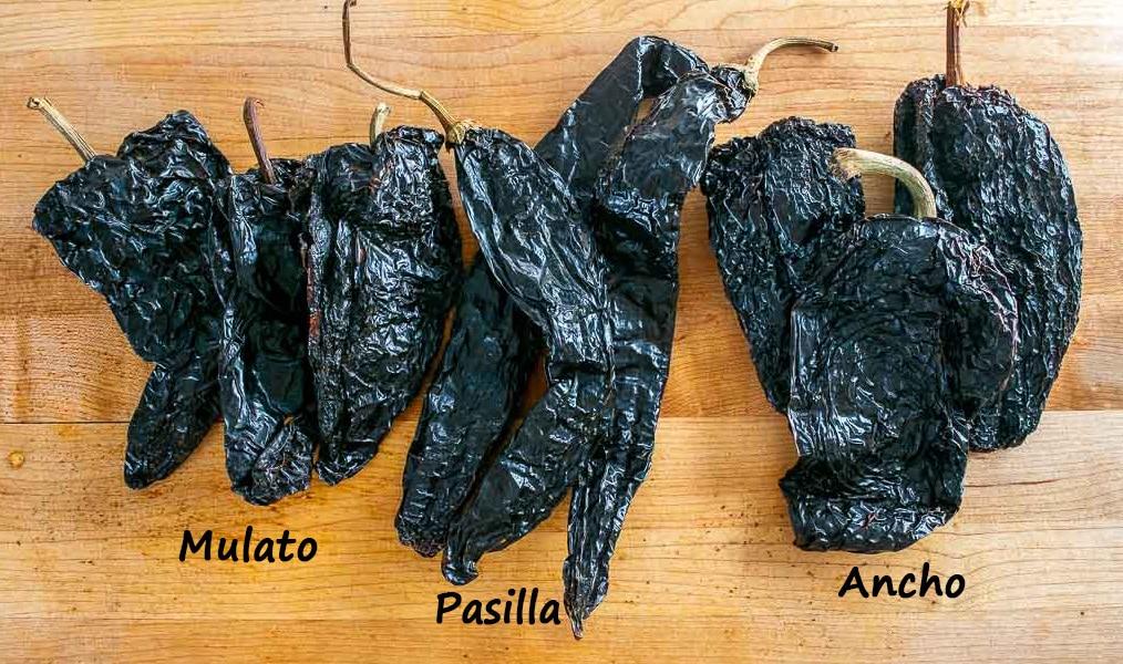 Ancho, Mulato and Pasilla chiles