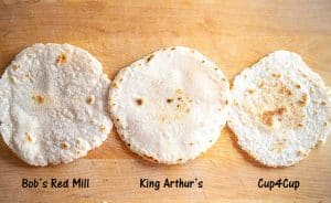 Final shot of tortillas from all three brands