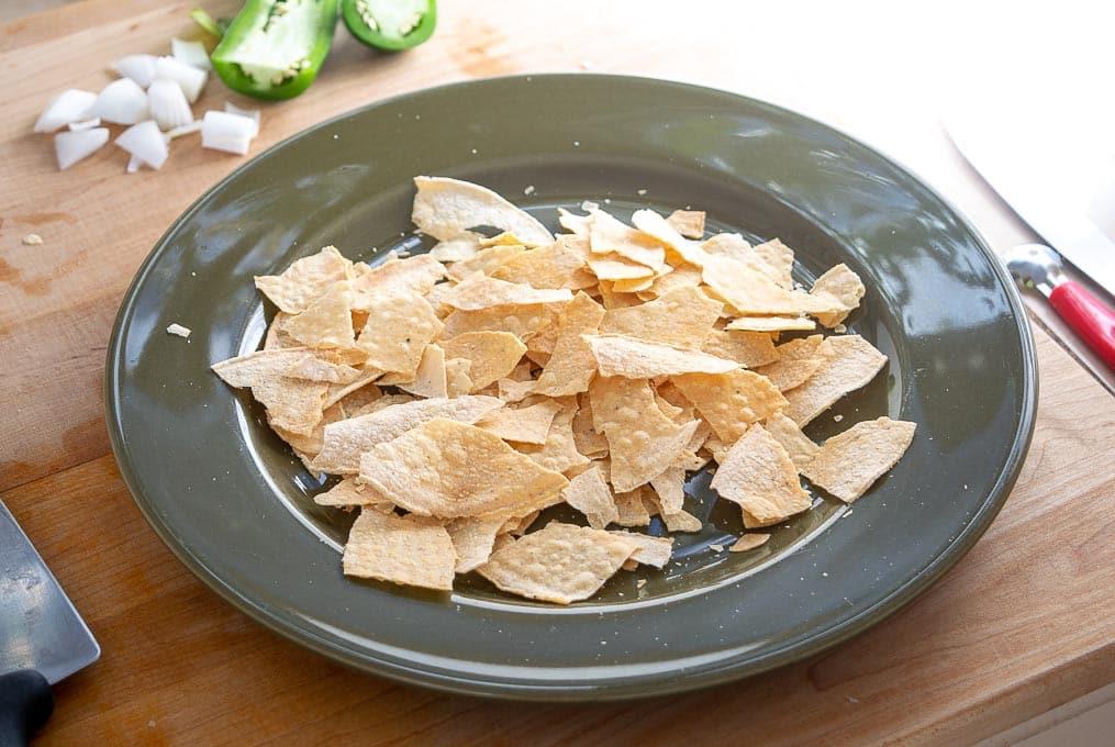 Five crumbled tostada shells