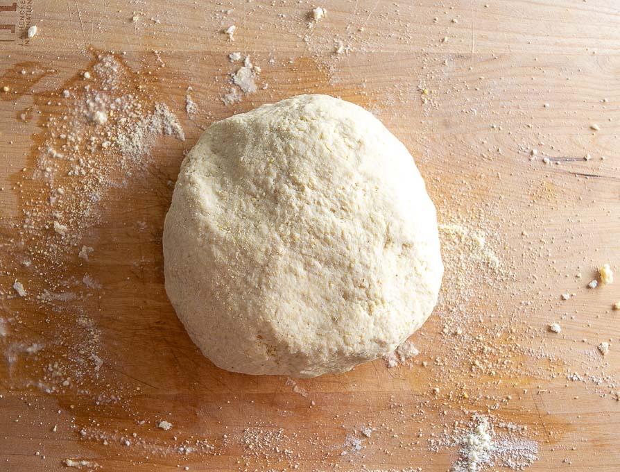 Cohesive ball of half and half dough