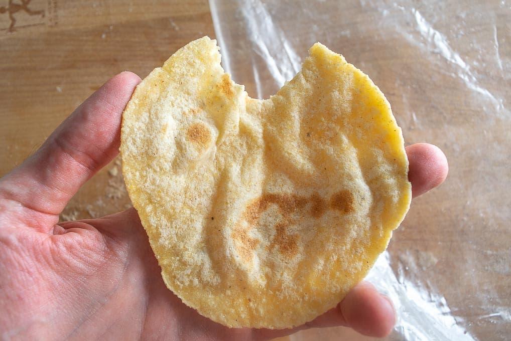 Batch #1 tortilla after cooking