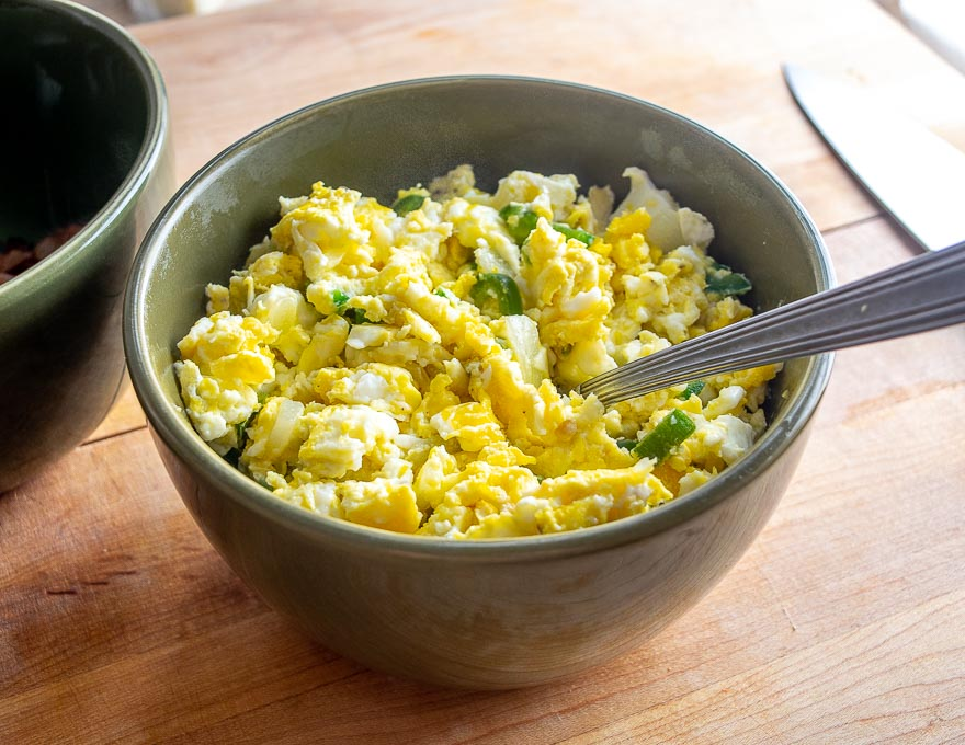 Scrambled eggs in a bowl for Breakfast Tacos