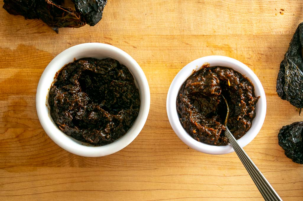 Comparing boiled to stovetop roasted dried chiles