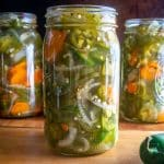 This recipe is perfect if you want to give away some Pickled Jalapenos to your friends and family! Start with 4 lbs. of jalapenos and you'll get four quarts of pickled heaven.
