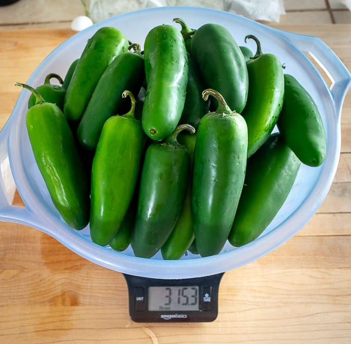 Weighing four lbs. worth of fresh jalapenos