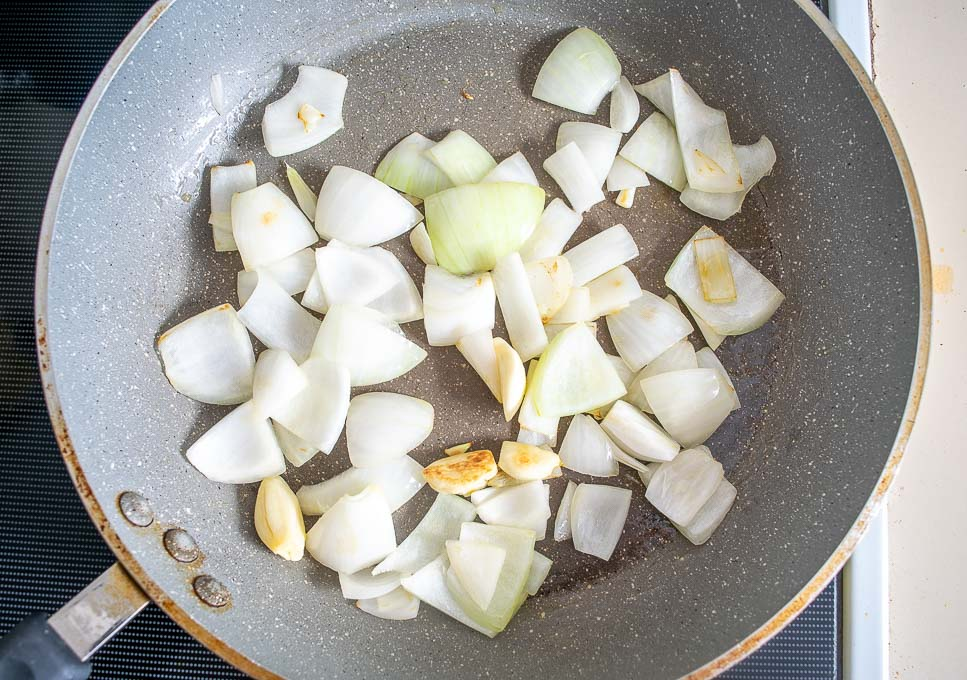 Cooking the onion and garlic
