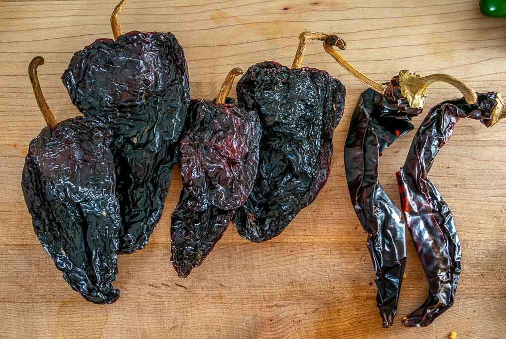 Ancho and Guajillo dried chiles for the enchilada sauce
