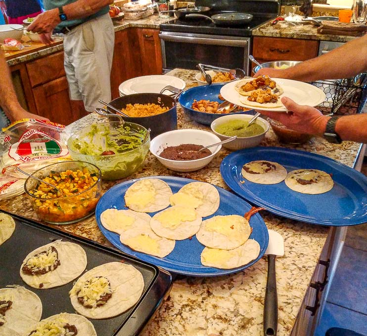 Setting up the Taco Bar with
