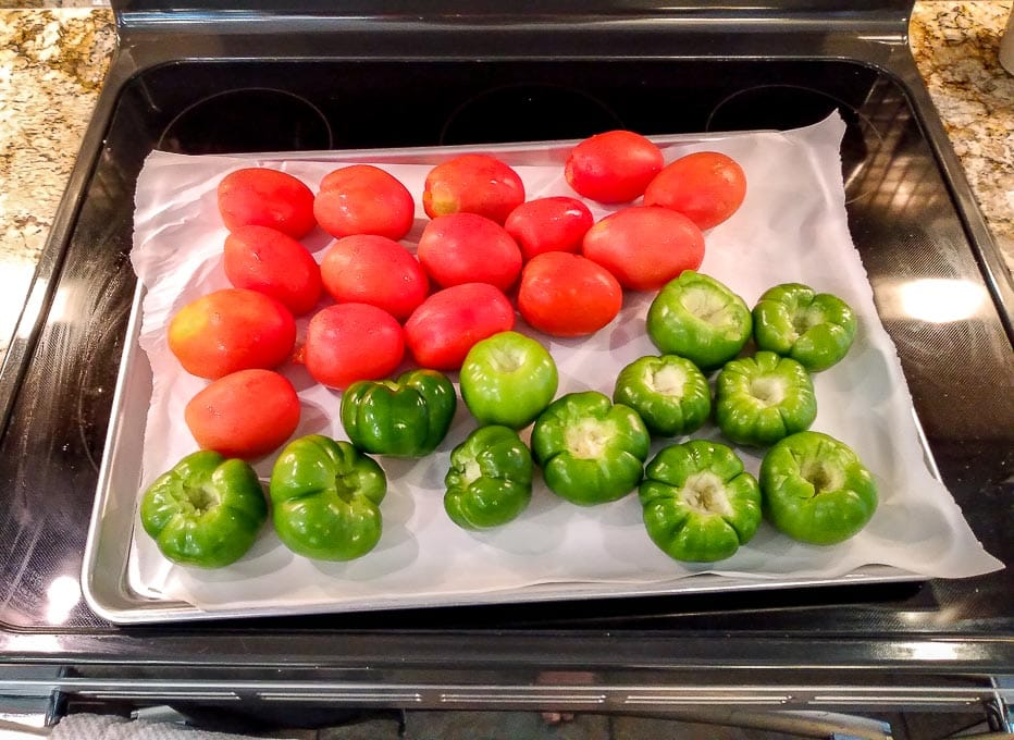 Roasting the tomatoes and tomatillos