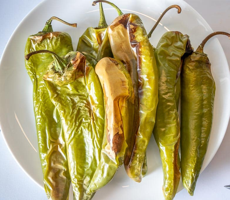 Hatch chiles after roasting in the oven for 30 minutes