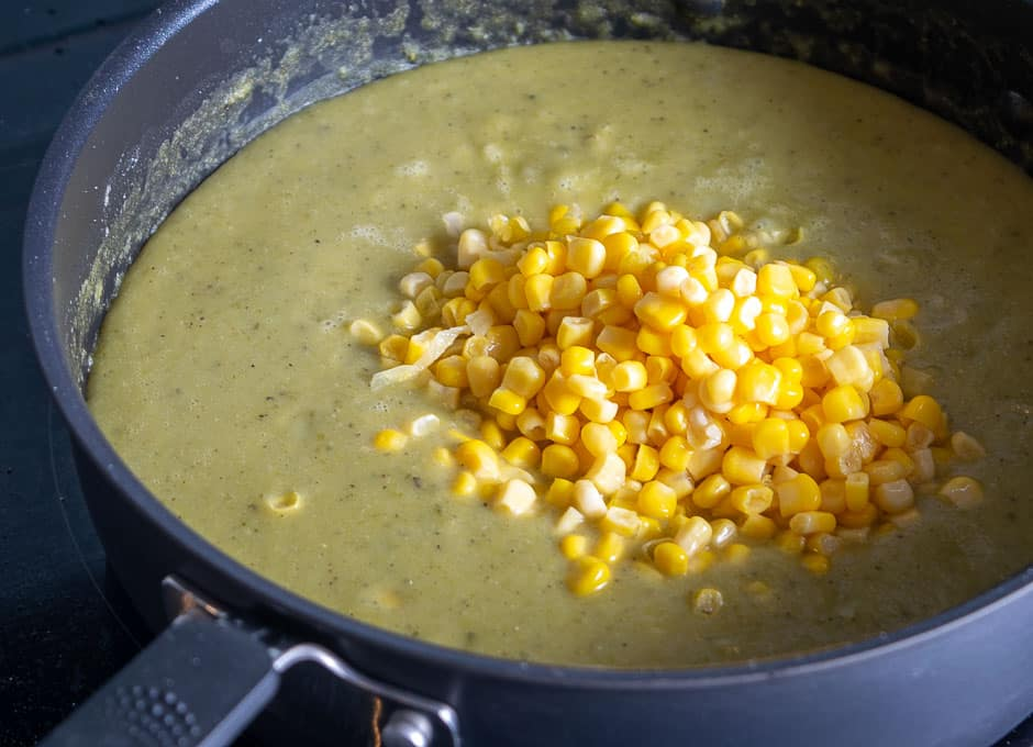 Adding corn to the Hatch soup at the end