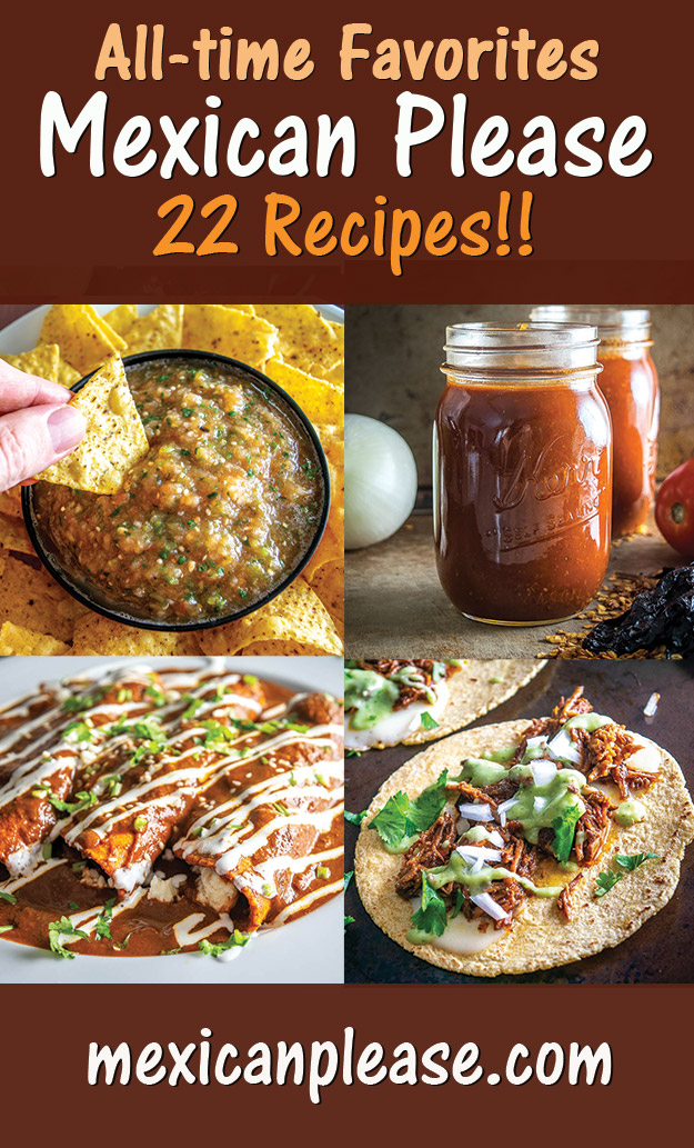 These are my all-time favorite recipes on Mexican Please and they are the ones I make most often.  If you're new to any of them please consider giving them a go!   There are 22 options in this list and they are all the real deal -- I hope you find some keepers!
